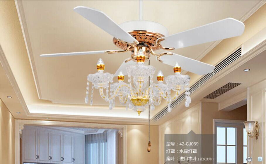 42inch Crystal Fan Lamp Ceiling Fan Crystal Light Restaurant With Candle Led Light Continental