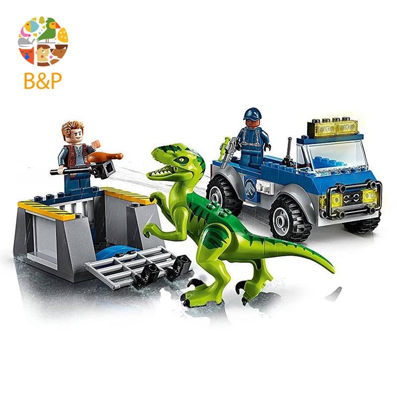 legoing 10757 102pcs Jurassic World Dinosaurs Figures Velociraptor Raptor Rescue Truck Building Block Toys For Children 10919 bela 10919 raptor rescue truck jurassic dinosaur world bricks building block toys compatible with legoings juniors 10757