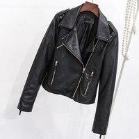 Spring Autumn New Korean Ladies Short Section Slim Motorcycle PU Leather Large Size Jacket Leather Jacket