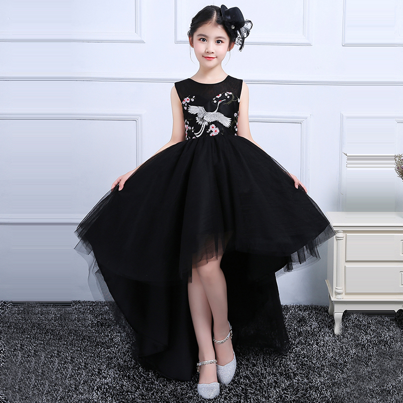 купить Royal Black Flower Girl Dress Kids Princess Dresses Sleeveless Ball Gown Dress Girls Party Embroidery Dress Pageant Gown A64 по цене 4574.87 рублей