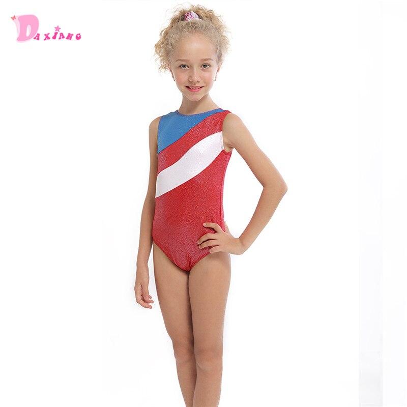 d15885f86851 Girls Kids Gymnastics Leotards Dance Wear Children Red Stripes ...