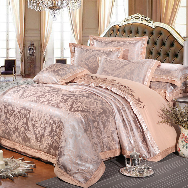 Chinese wedding style Jacquard bedding 100%cotton Embroidered Pillowcase Duvet cover bed sheets
