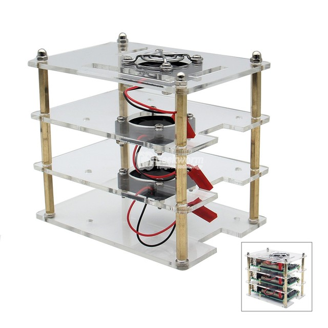 US $31 63 |Customized Acrylic Raspberry Pi 3B 2B Stackable Shell Compatible  With Fan V36 Raspberry Pi Cooling Acrylic Case Accessories-in Integrated