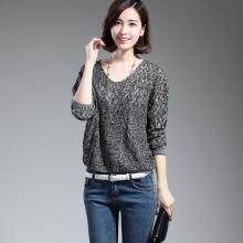 New 2016  autumn  women sweater plus size female clothing pullover batwing sleeve hollow out knitted sweaters