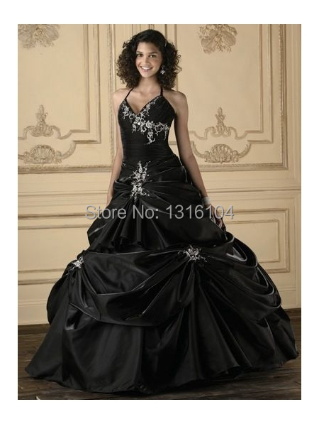 888854a9ded6 Antique Black Bridal Gowns Colorful Halter Ball Gown Corset Embroidery  Taffeta Gothic Wedding Dresses