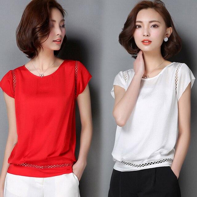 2017 Summer Chiffon T-shirt Women Tee Tops Plus Size Candy Colors T-shirt O-neck Cheap Like Silk Women's Clothing Korean Style
