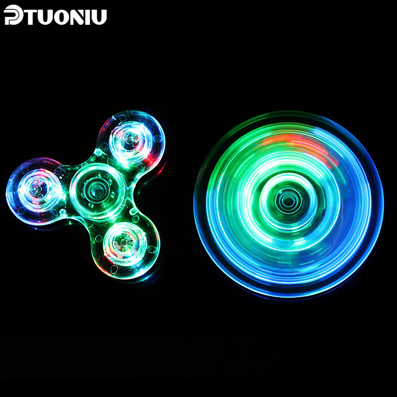 Shake Light Fidget finger Spinner Colorful Lighting For Autism and ADHD crystal Finger Spinner Anti Stress Gift Toy