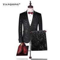 TIAN QIONG Men Suit 2017 Luxury Tuxedo Wedding Suits for Men Slim Fit Velvet Tuxedo Fashion Printed Floral Suit (Jacket +Pants)