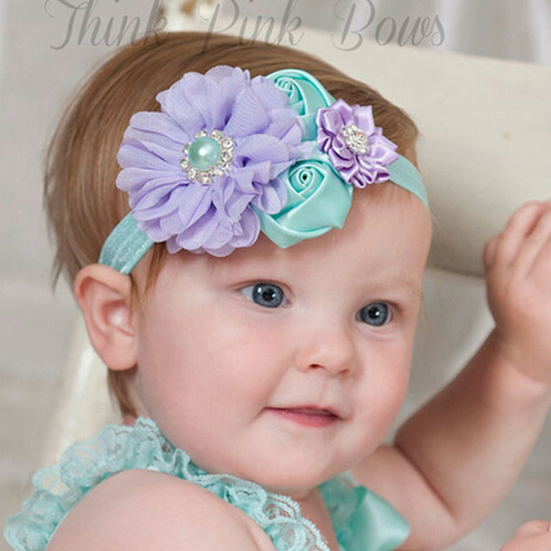 retail new 2015 handwork pearl 6 styles mix 4 flower baby Headband Wide hairband Baby Girls Headbands hair Accessories