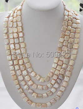 "Free Shipping >>>100"" 13mm square pink Freshwater cultured pearl necklace"