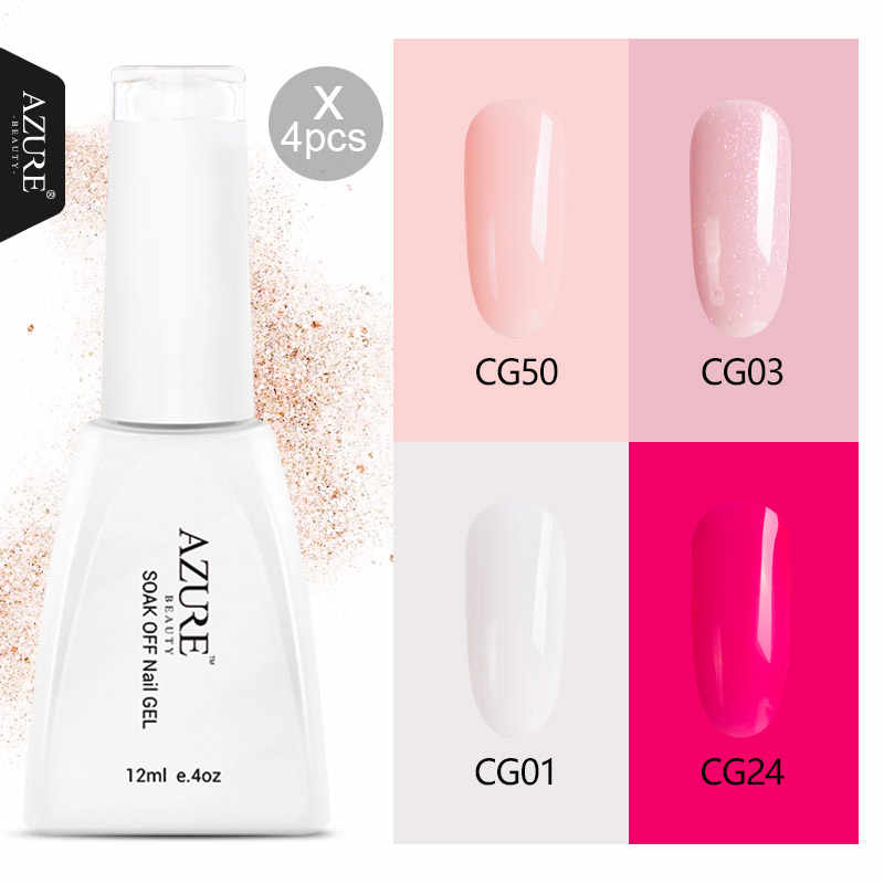 Azure Beauty 4 Colors One Set Nail Gel Polish White Pink Red Nude High Quality UV Gel Polish Soak Off Nail Varnish Long Lasting