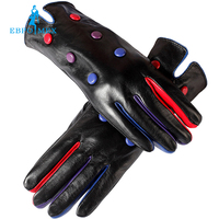 2016 Leather Gloves Genuine Leather Black Red Beige Shirring Design Female Leather Gloves Leather Winter Gloves