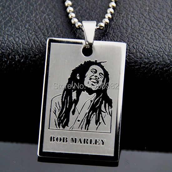 Thiết kế cổ điển Bạc Tone Stainless Steel reggae Bob Marley chó mặt dây chuyền chuỗi vòng cổ tag Dog Tag món quà YN283