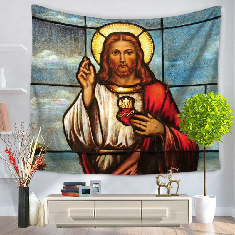 Home Decorative Wall Hanging Carpet Tapestry 130x150cm Rectangle Bedspread Christian Jesus religion People Pattern GT1101