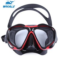 WHALE Comfortable Solid Red Diving Mask Professional Scuba Hyperopia Myopia Diving Swimming Mask Goggle For Diving