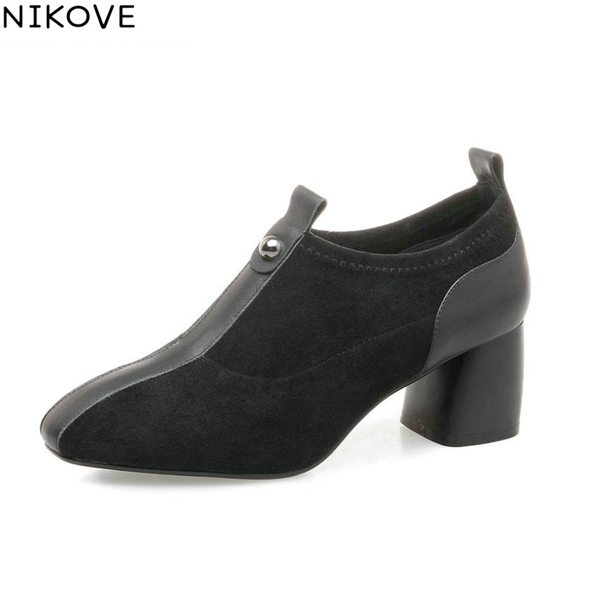 NIKOVE 2018 Women Pumps Shoes Western Style Handmade Square High Heels Square Toe Slip on High Heels Women Shoes Size 34-42 2017 shoes women med heels tassel slip on women pumps solid round toe high quality loafers preppy style lady casual shoes 17