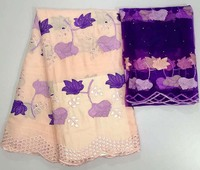 Latest African Lace Fabric 2018 High Quality Lace Pink Purple French Guipure Nigerian Lace Fabrics With Stones For Party