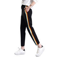 2017 Spring Summer Women Casual Sweatpants Rainbow Striped Printed Side Pant Ladies Loose Sport Trousers Joggers