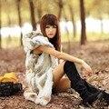 2015 nova Rex coelho colete de pele com capuz Real Silm coletes de pele de coelho inverno casaco de pele de coelho