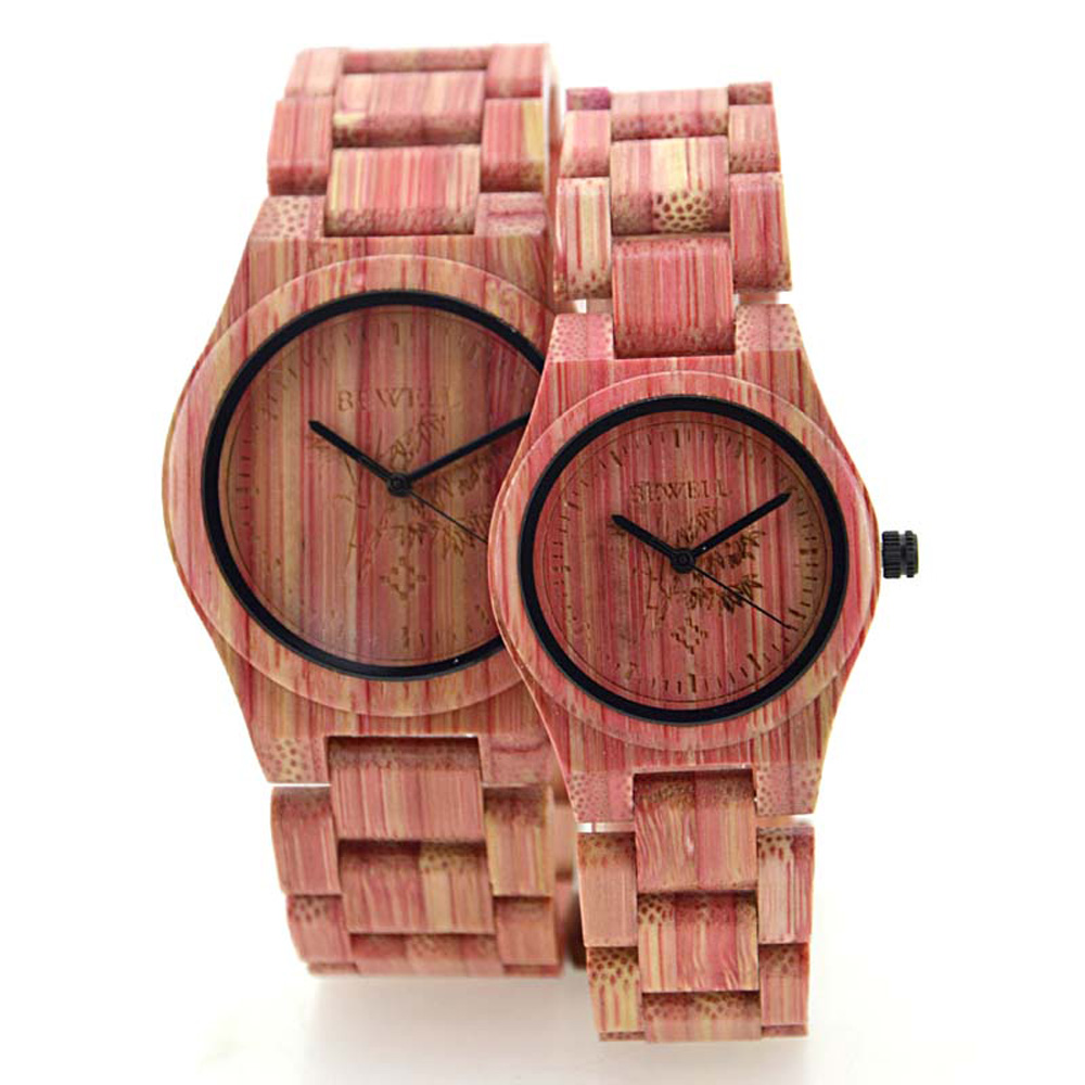 ФОТО New Womens Watches Pink Color Bamboo Wooden Wristwatches with Bamboo Band Watches for Women Japan Movement Quartz Watch For Gift