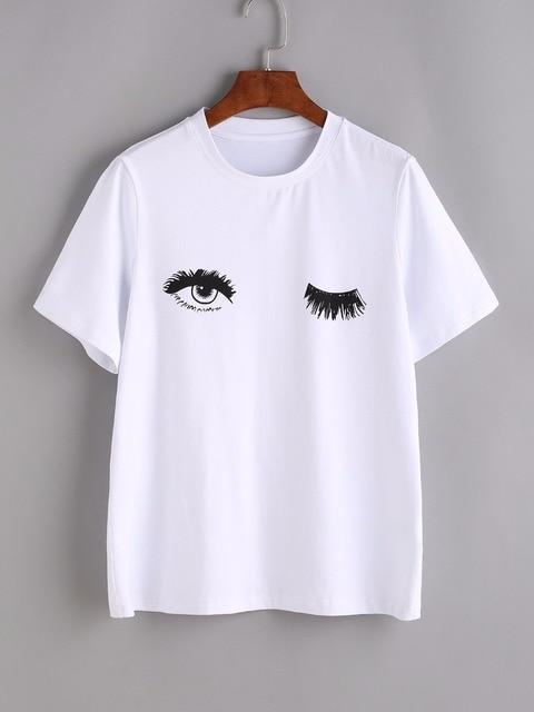 Clin d'oeil Yeux Impression Tee Sexy t-shirt Femmes Imprimé t-shirt