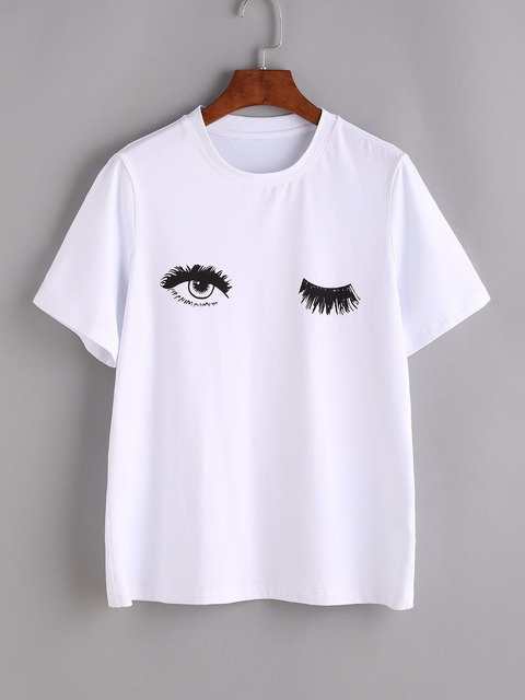 d8bf887d1b Wink Eyes Print Tee Sexy t shirt Women Printed tshirt summer style graphic  tees tops drop ship fashion clothes