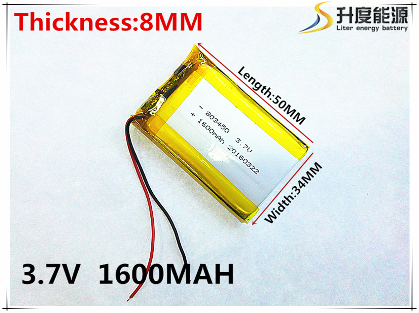 3.7V,1600mAH,[803450] PLIB; polymer lithium ion / Li-ion battery for GPS,mp3,mp4,mp5,dvd,bluetooth,model toy in the 9 6v 1600mah core power polymer lithium iron batteries cs model fnc m4 ak47 g36 li ion cell