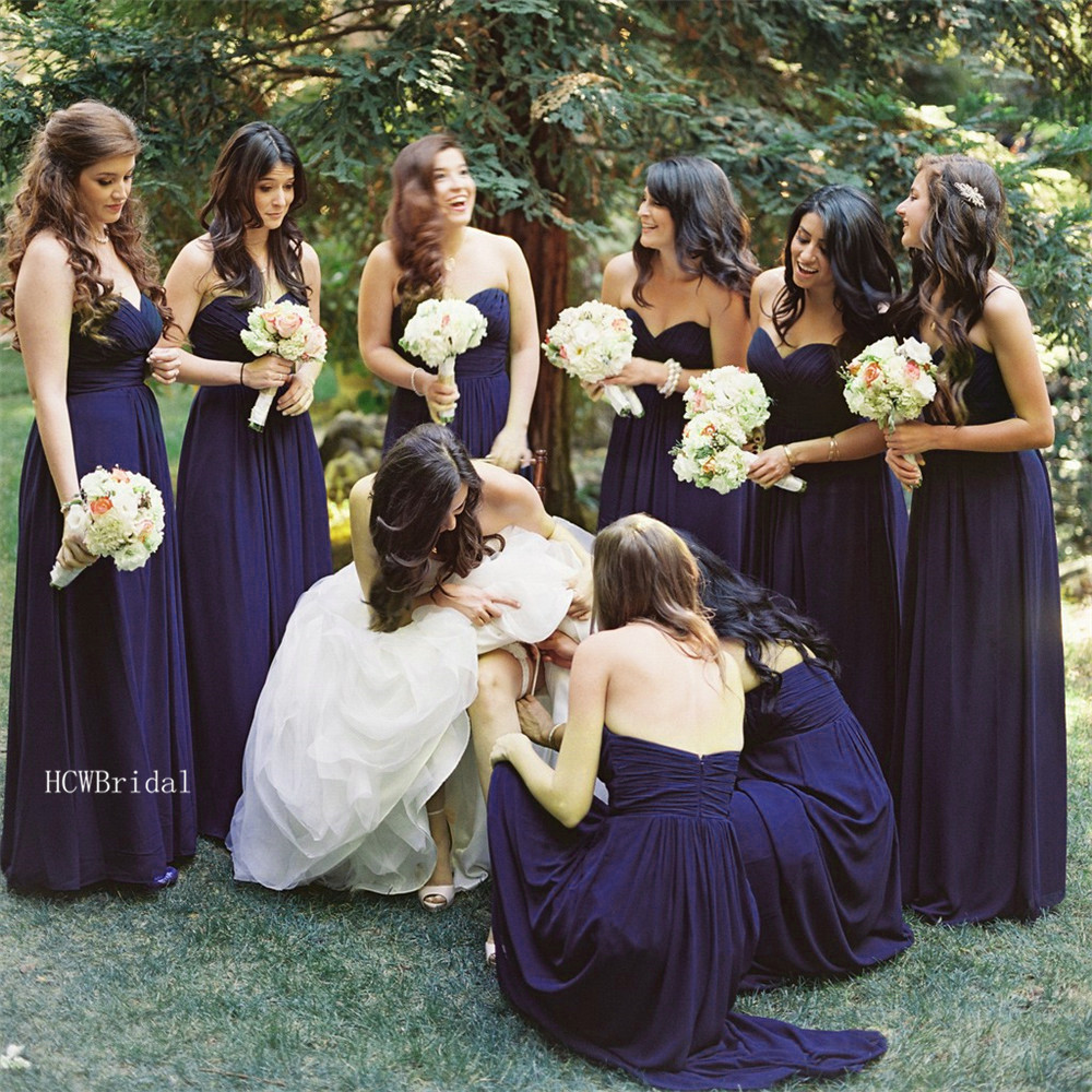 Hot Selling Navy Blue Pleat Chiffon Bridesmaid Dresses 2019 Strapless A Line Floor Length Long Wedding Party Gowns Custom Made