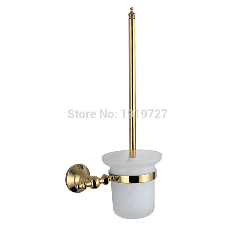 Wall Mounted Brass & Gold Toilet Brush Holder+ Ceramic Cup + White Brush Golden Bathroom Accessories oil rubbed bronze square toilet paper holder wall mounted paper basket holder