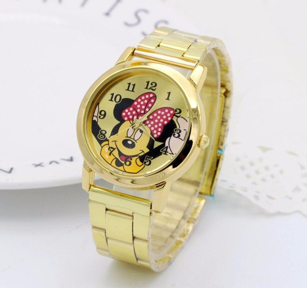 2018 Fashion Gold Mickey Mouse Newest Luxury Quartz Watch Lady Slim Stainless Steel Watch Women Clock Kobiet Zegarka