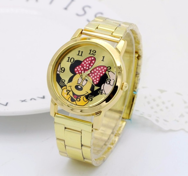 2018 Fashion Gold Mickey Mouse newest luxury quartz watch Lady Slim Stainless St