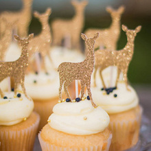 6pcs Gold Glitter Sika Deer Cake Topper Birthday Decor Gold/Silver Cupcake Toppers Princess Crown Cake Toppers Baby Shower Kids funnybunny cupcake toppers gold glitter crown cake decoration dessert table birthday party decor