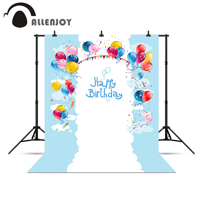Allenjoy photo backdrops Happy birthday balloons flags cute baby backgrounds for photo studio christmas photo backdrop happy birthday colorful flags birthday party outdoor custom photo backdrop photography backgrounds