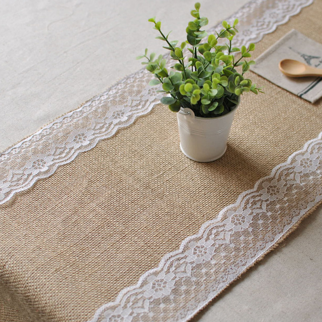New White Vintage Jute Burlap Lace Hessian Table Runner Wedding Decoration