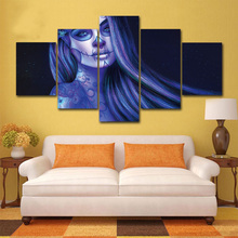Painting Modular Picture Wall Art Home Decoration 5 PiecesSet Blue Sull Woman Canvas For Living Room Modern Printing Type