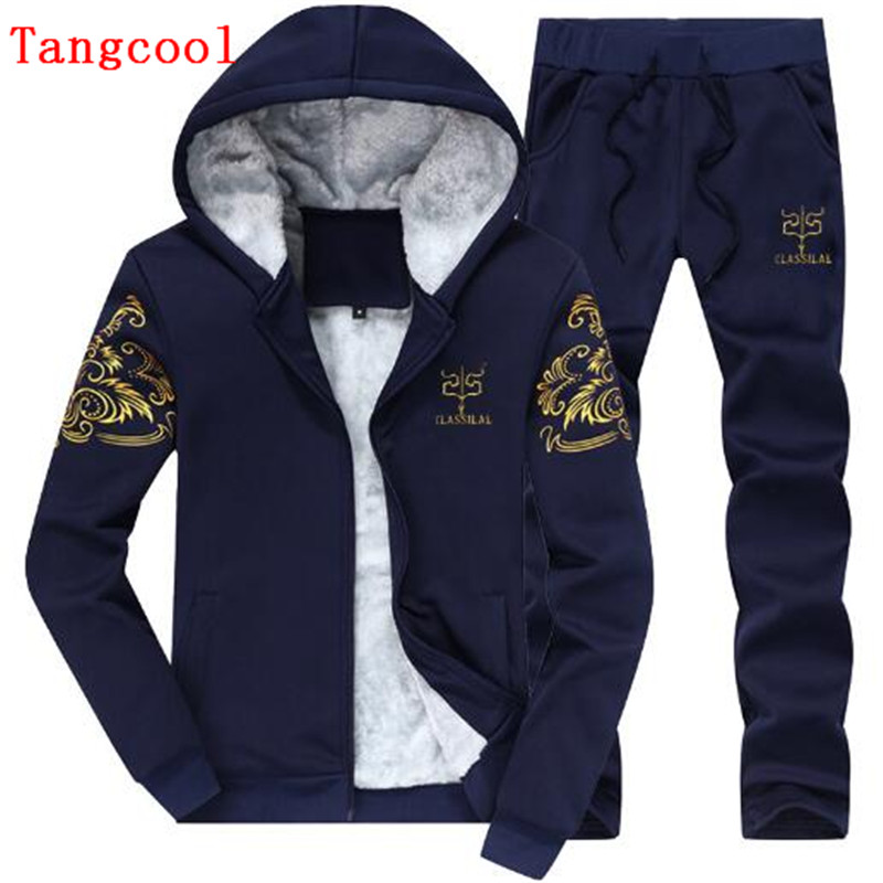 2018 winter new track and field wind plus velvet thickened Hoodie + trousers leisure casual young students 2 pieces ...