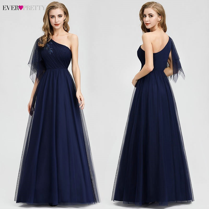 Vestidos De Gala Ever Pretty Navy Blue Prom Dresses Long One Shoulder Beaded Sexy Formal Party Gowns Elegant Gala Dresses 2020