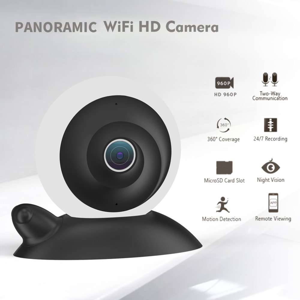 Panoramic Wifi HD 960P Secirity Camera Two-way Communication Night Vision Camera Motion Detection Remote Viewing Monitor
