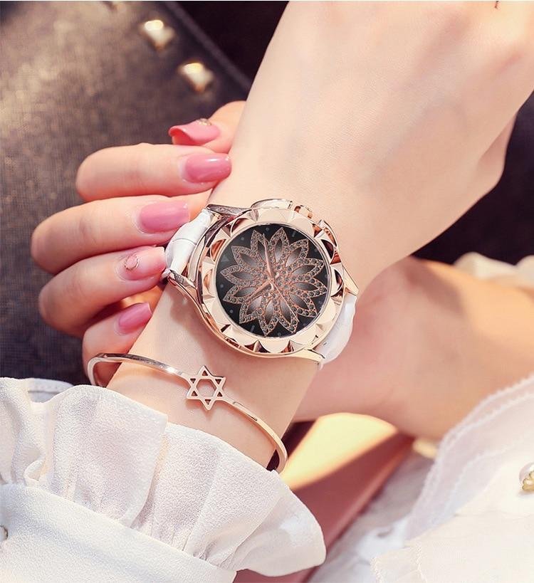 2019 New Fashion Chinese Style Peony Pattern Watch Gilt Digital Quartz Casual Leather Clock Women Dress Cartoon Wristwatch Hot
