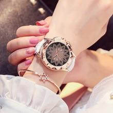 2019 New Fashion Chinese Style Peony Pattern Watch Gilt Digital Quartz Casual Leather Cloc