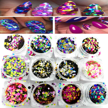12 Box Shiny Round Mix Sequins Colorful Nail Art Glitter Tips 3D DIY Nail Decoration Manicure For Nail Art Glitter Powder Flakes new 3d nail art tips laser silver sequins square round sequins nail glitter rhinestone diy nail wheel art decoration