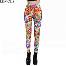 LEIMOLIS 3D printed Rainbow candy monster Gothic harajuku sexy plus size high waist push up fitness workout leggings women pants