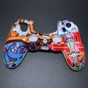 Image 4 - YuXi funda de goma de Gel de silicona camuflaje para Dualshock 4, Playstation 4, PS4 Pro, mando fino