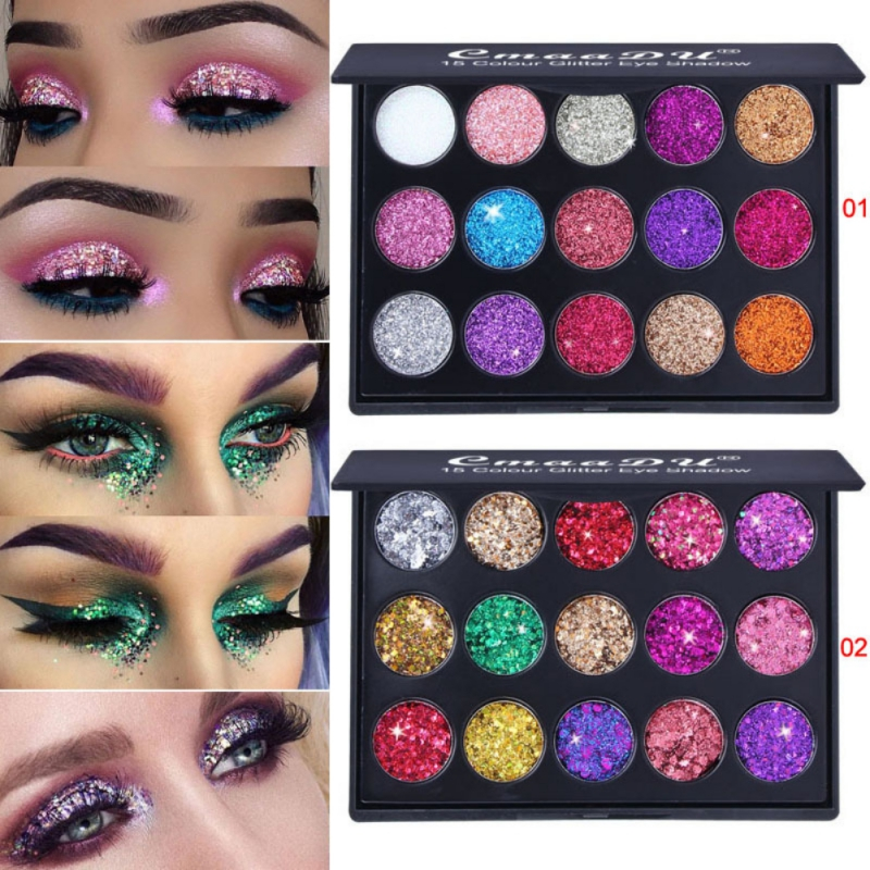 Female Natural Waterproof Glitter Eyeshadow Palette Shining Metals Powder Shimmer Eye Shadow Pigments Kits Diamond 15 Colors
