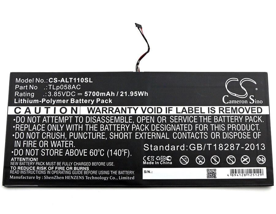 Cameron Sino 5700mAh Batteria TLp058AC per Alcatel One Touch Plus 10