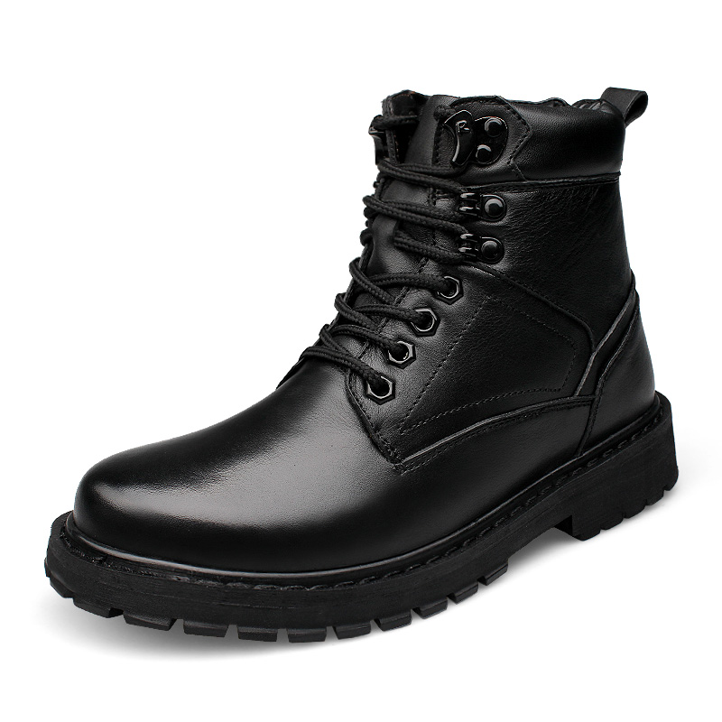 Warm military boots first layer of leather boots domineering tough tough mens boots Large size shoesWarm military boots first layer of leather boots domineering tough tough mens boots Large size shoes