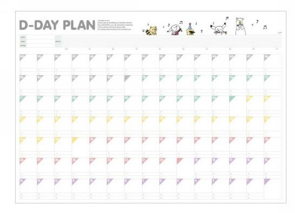 50pcs/lot Korean Style D Day Plan 100 Days Countdown Schedule ...