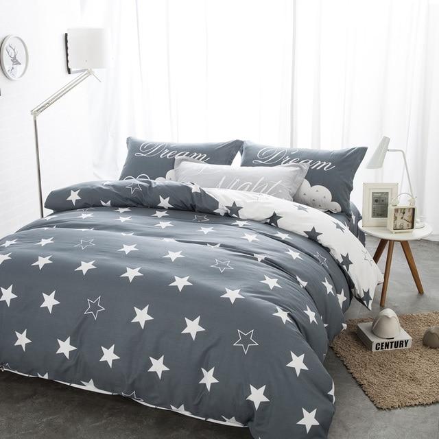 Постельное белье Черный и белый цвета Принт звезды 100% хлопок twin/двойное/Королева постельное белье подушки bedline для мальчиков/бойфренда