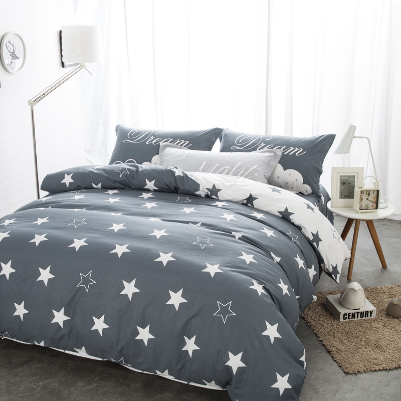 bedding sets black and white star print 100% cotton twin/double/queen duvet cover <font><b>bed</b></font> sheet pillows bedline for boys/boyfriend