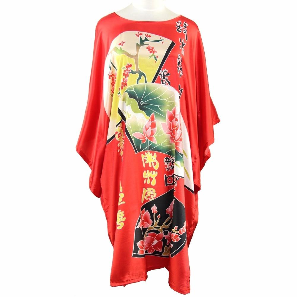 Plus Size Nightgown Chinese Women Vintage Nightdress Rayon Sexy Casual Robe Bath Gown Print Flower Satin Home Dress Kaftan